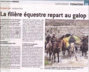 2 jolis articles sur le tourisme équestre dans  l'Ain, à lire!